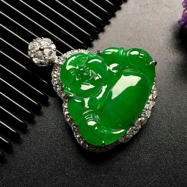 冰种满绿笑佛翡翠吊坠 尺寸: 36-30.5-10mm