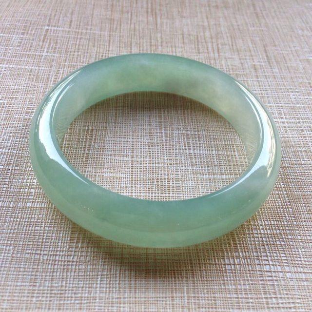 冰种晴水 缅甸天然翡翠平安镯 56.2寸