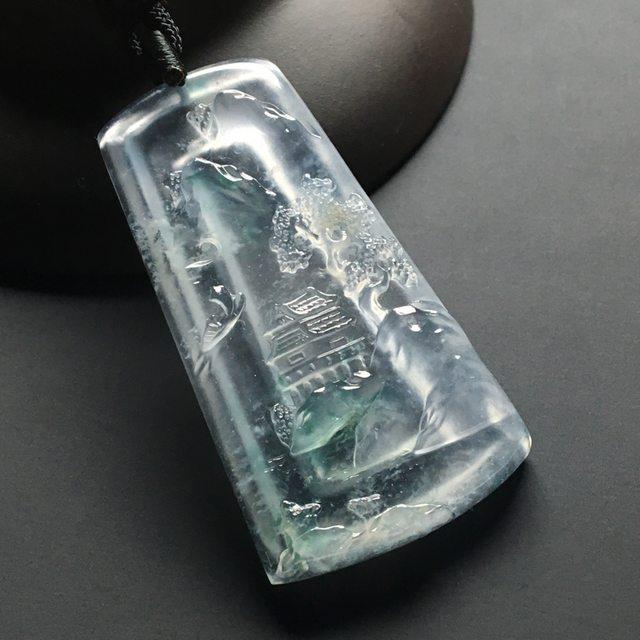 高冰种飘花深山藏古寺 翡翠吊坠 尺寸:49-27-6.7毫米