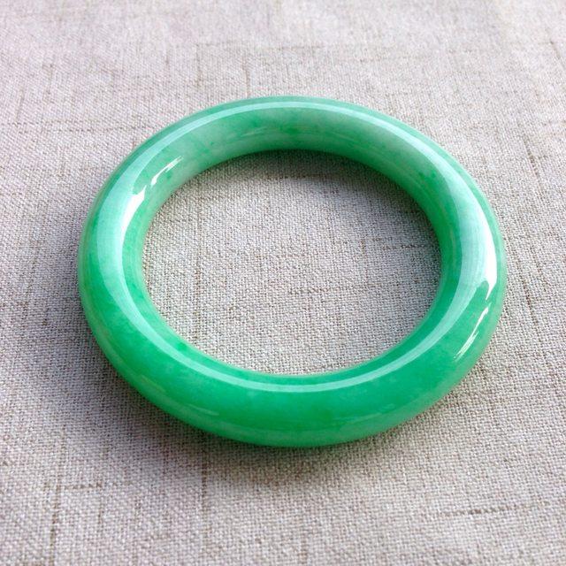冰种满绿翡翠手镯 缅甸天然翡翠圆条手镯