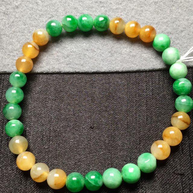 黄加绿天然翡翠手串6图1