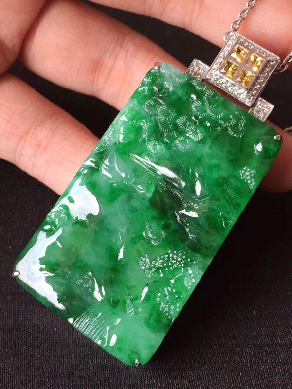 冰种正阳绿辣阳绿翡翠吊坠   裸石52:32:7mm完美无裂纹