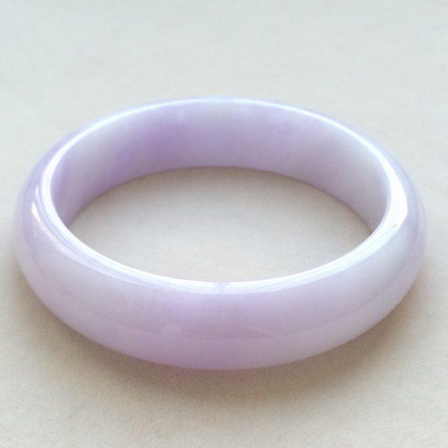 糯冰种紫罗兰翡翠手镯  缅甸天然翡翠正圈手镯 尺寸:53.2寸