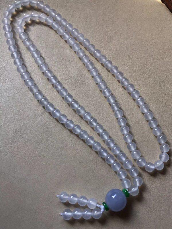 高冰无色翡翠珠链5.5