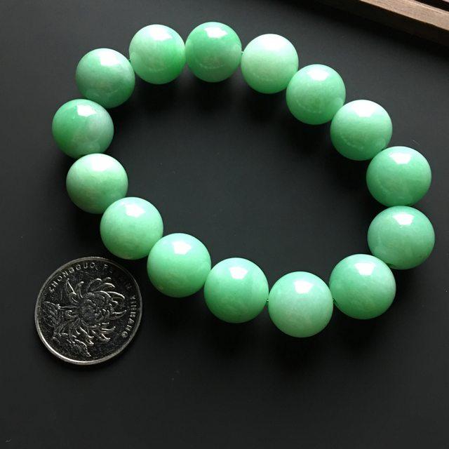 满色天然翡翠佛珠手链 直径15毫米