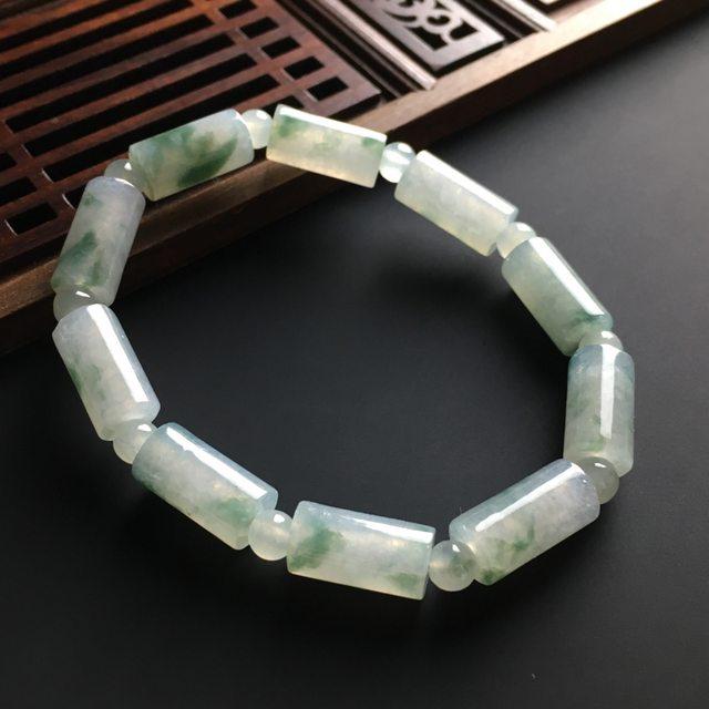 糯冰飘花路路通翡翠手链 单个尺寸14-7mm