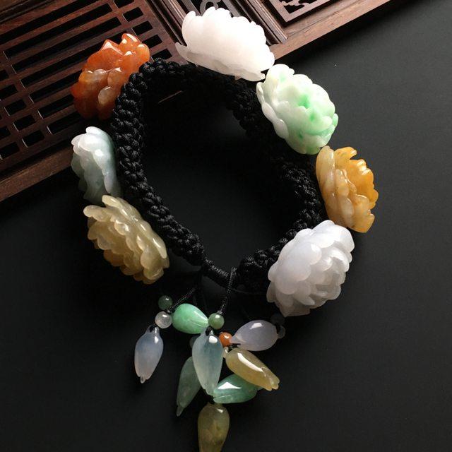 多彩花开富贵翡翠手链26-23-15毫米