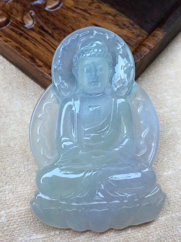 老坑料冰种紫底如来佛祖翡翠吊坠