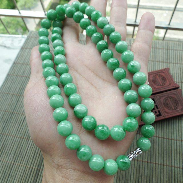 满色飘阳绿项链珠大 9.8