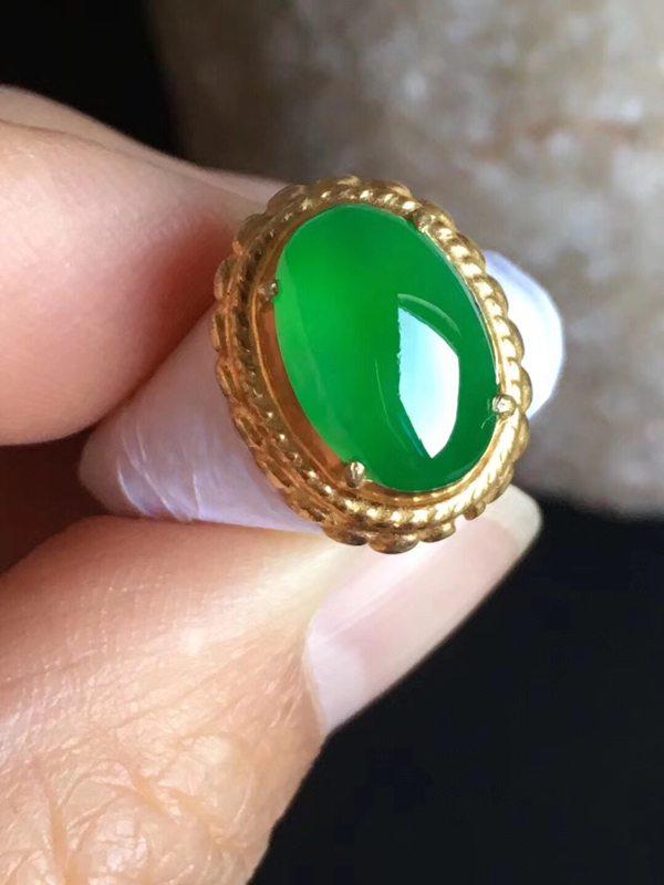 老坑冰种 正阳绿色 缅甸天然翡翠戒指