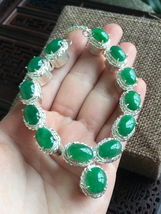 天然A貨翡翠 冰滿綠蛋面托銅項鏈