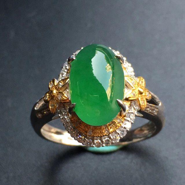 11.1*7.6*5mm冰种满色 缅甸天然翡翠戒指