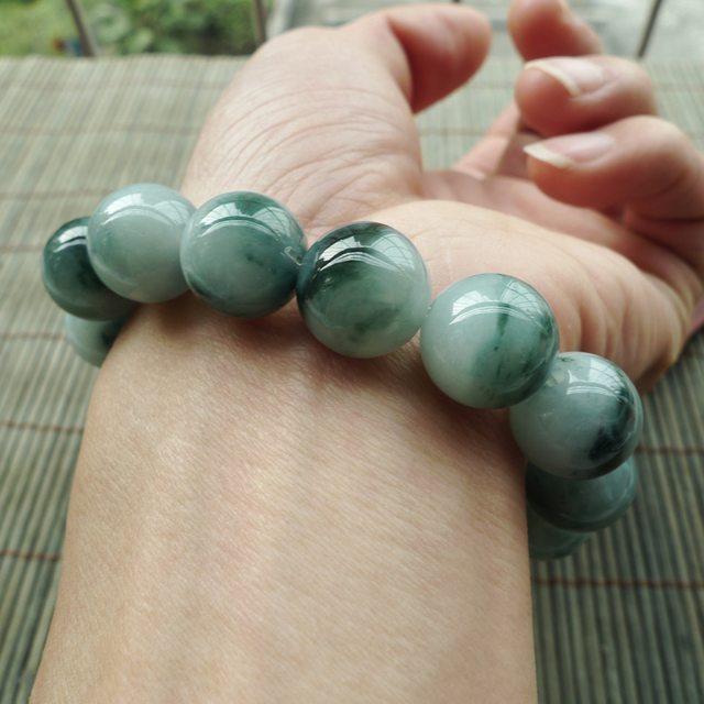 精美飘花圆珠翡翠手链 珠大尺寸13.5mm