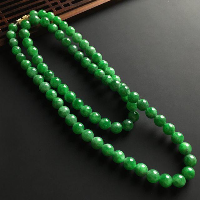 糯冰满色阳绿佛珠项链 直径8mm