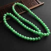 糯冰阳绿 天然翡翠佛珠项链 颗佛珠直径9毫米