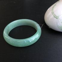 糯种晴水天然翡翠扁管手镯1414(57mm)
