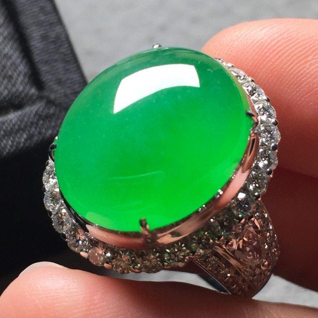 16.6*14*6寸冰阳绿 缅甸天然翡翠戒指