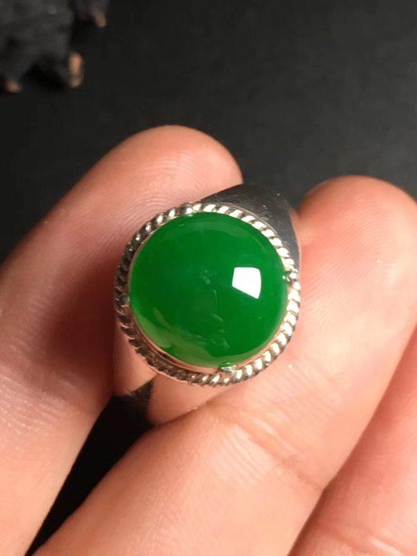 冰种满绿 缅甸天然翡翠戒指11.3-5.2毫米