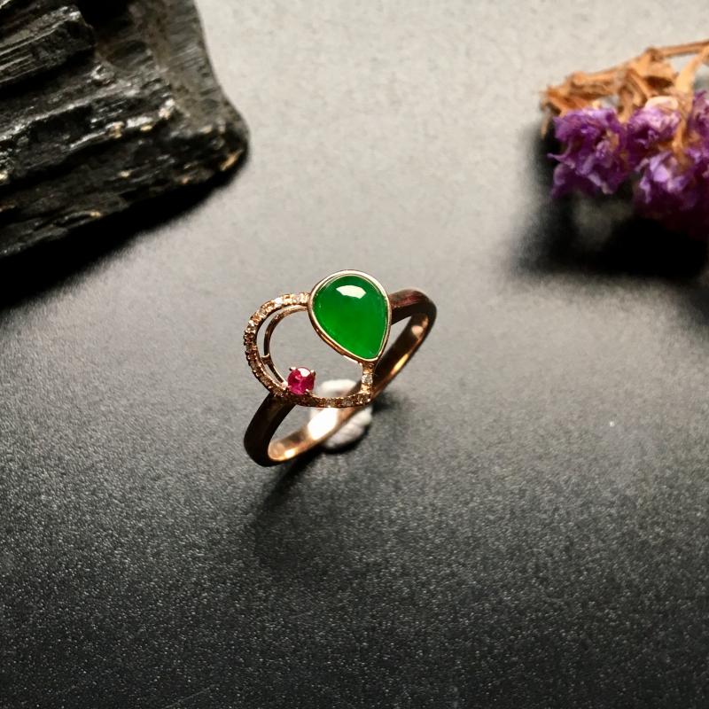 冰糯种满绿水滴 天然翡翠戒指