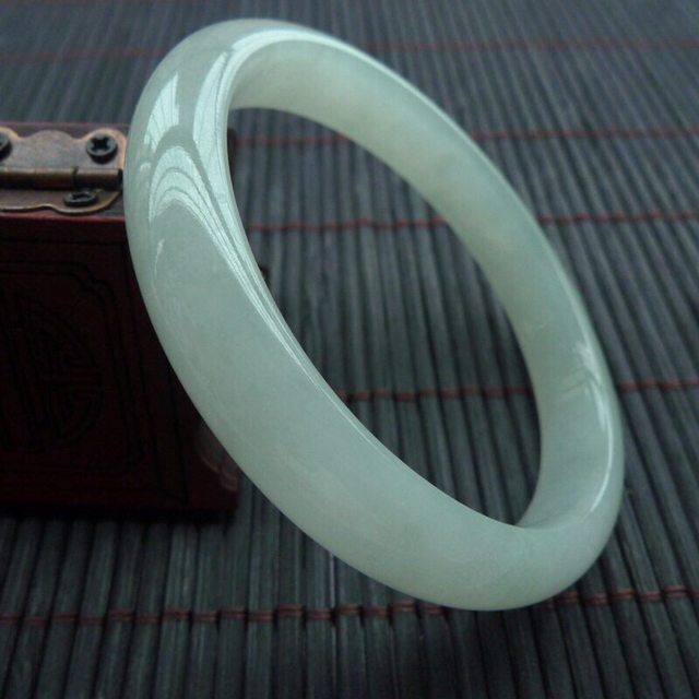 冰种晴水翡翠手镯  缅甸天然翡翠贵妃手镯53.3-48.3-10-6.3mm