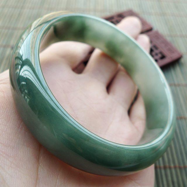 A货翡翠手镯 好种飘花正装手镯57.5mm图3