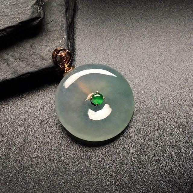 冰种平安扣 翡翠挂件 尺寸: 21-5mm