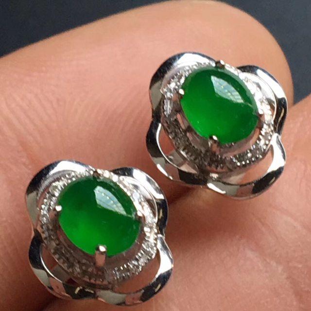 冰种老坑绿 翡翠耳钉 5.8-4.5-2.8毫米