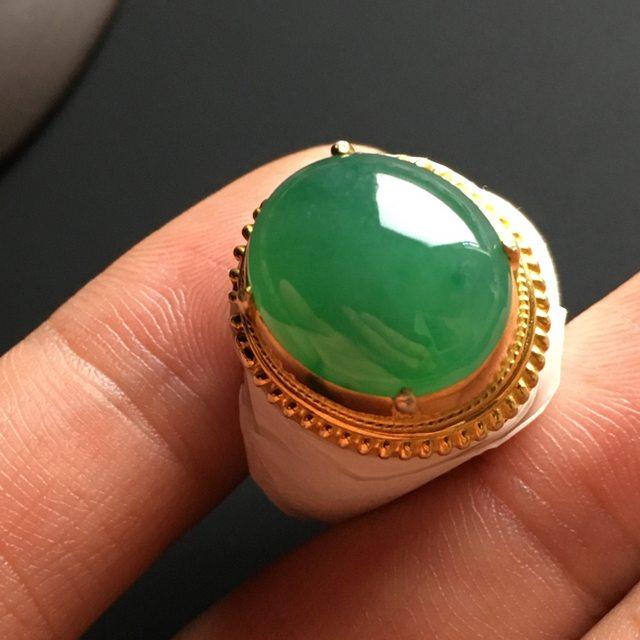 15-13-6mm冰种满色 缅甸天然翡翠戒指