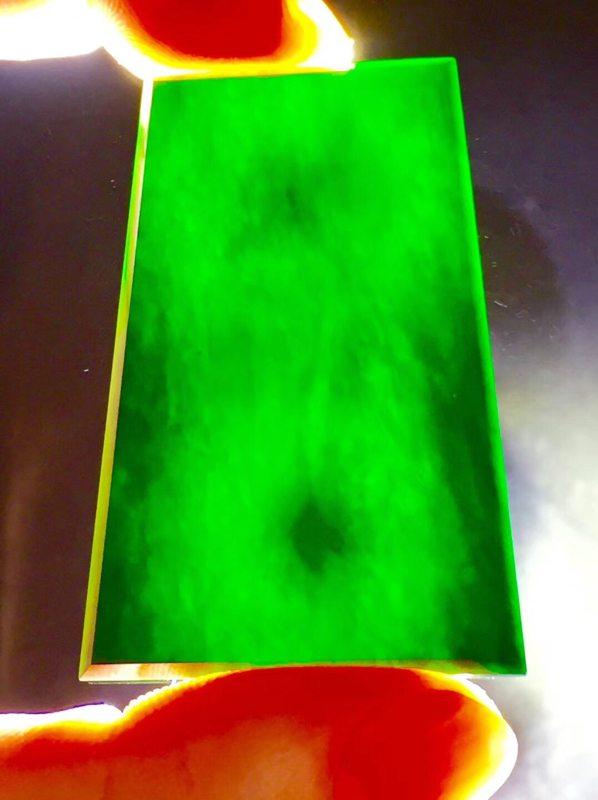 墨翠无事牌吊坠 打灯透绿