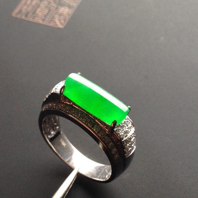 冰种阳绿马鞍 翡翠戒指 12-5-3毫米