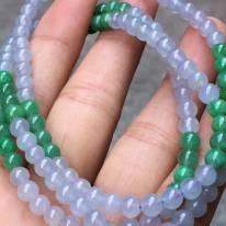 冰紫*阳绿天然翡翠珠链5