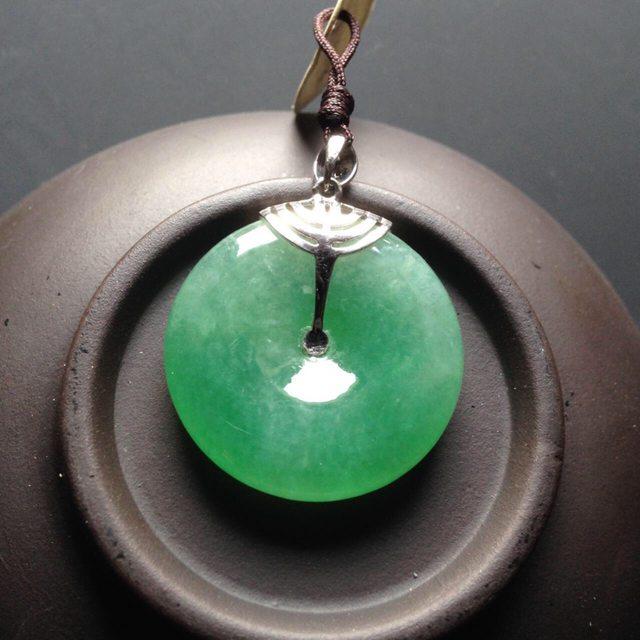 冰种绿底平安扣 翡翠挂件 尺寸25-25-6mm