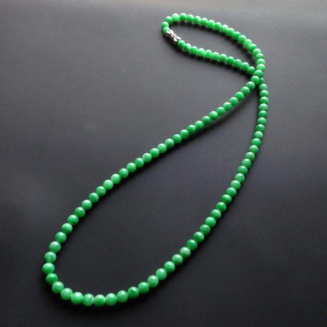 糯冰种豆色翡翠项链 单颗尺寸小4.5mm
