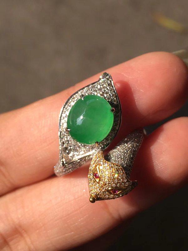 9*8*5.5寸高冰种甜阳绿 翡翠戒指