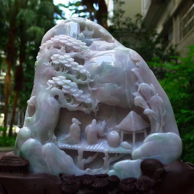 老坑冰透浅紫 山中访贤山水翡翠摆件图3