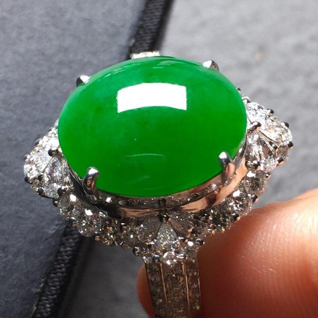14.5*13*5寸冰阳绿 缅甸天然翡翠戒指