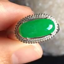 14-7-3.8寸老坑冰种正阳绿色 翡翠戒指