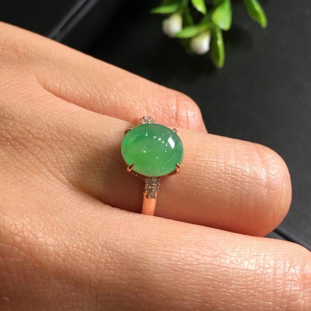 冰种阳绿圆蛋 缅甸天然翡翠戒指9.5*8.5*6.6mm