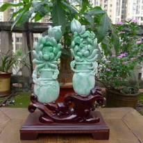 阳绿花瓶一对 平安富贵精品摆件