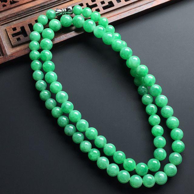 糯化种满绿色翡翠珠链