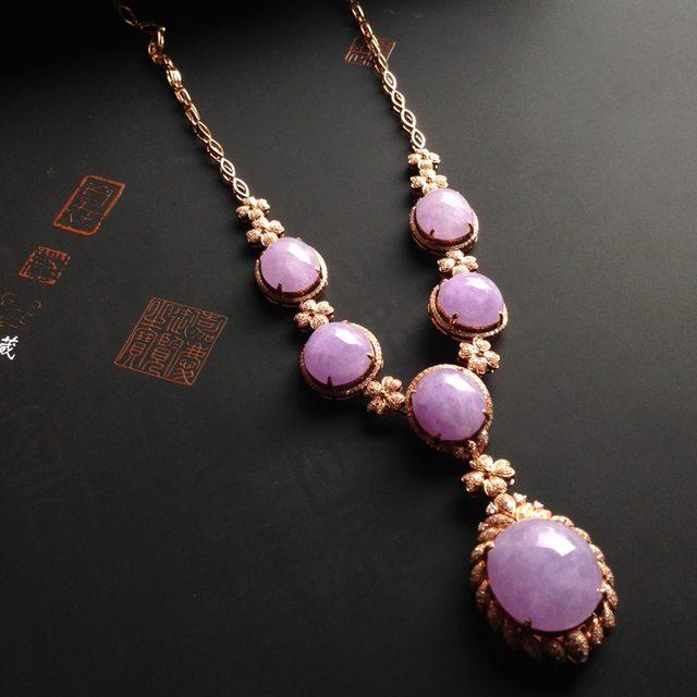 18k玫瑰金真钻镶嵌 冰种紫罗兰翡翠项链