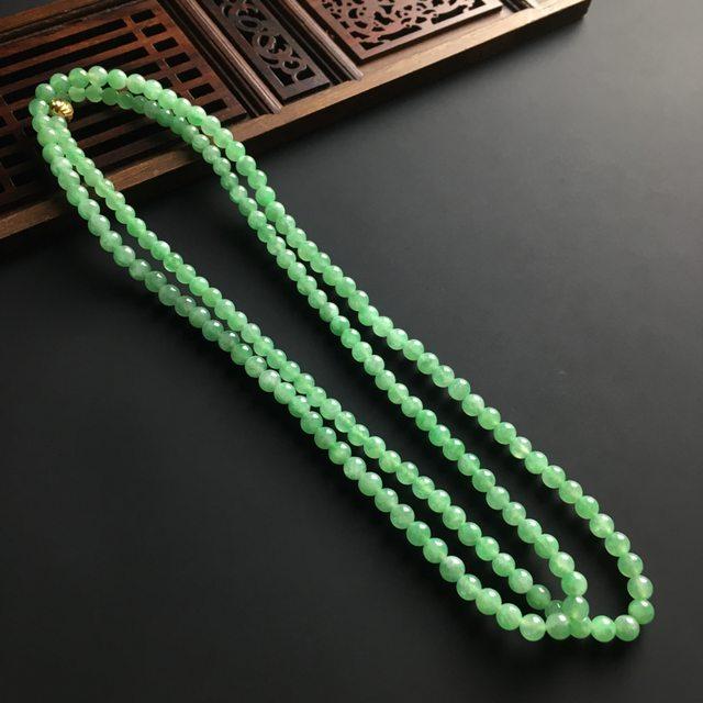 糯冰晴绿佛珠翡翠项链 168颗 佛珠直径4mm