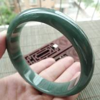 A货翡翠手镯 油青满色正装手镯62.2mm