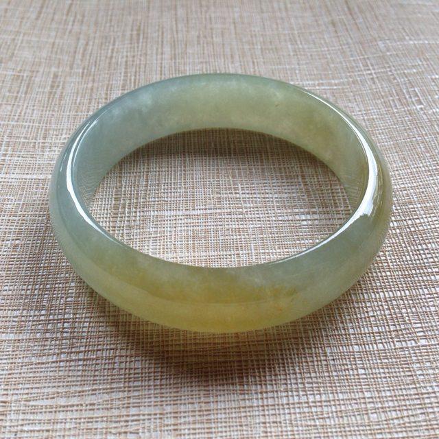 冰润黄翡手镯  天然翡翠平安镯 54-14.3-6.5mm