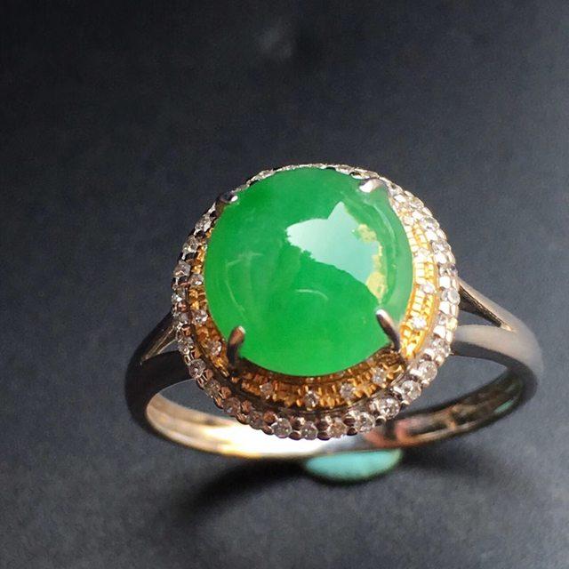 冰种阳绿 缅甸天然 18k金镶嵌翡翠戒指