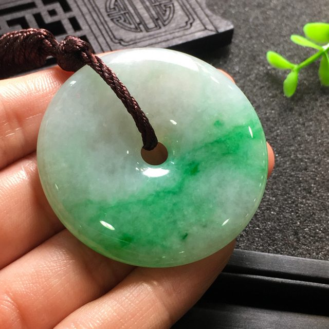 阳绿平安扣 翡翠挂件 尺寸46.7*6.1mm