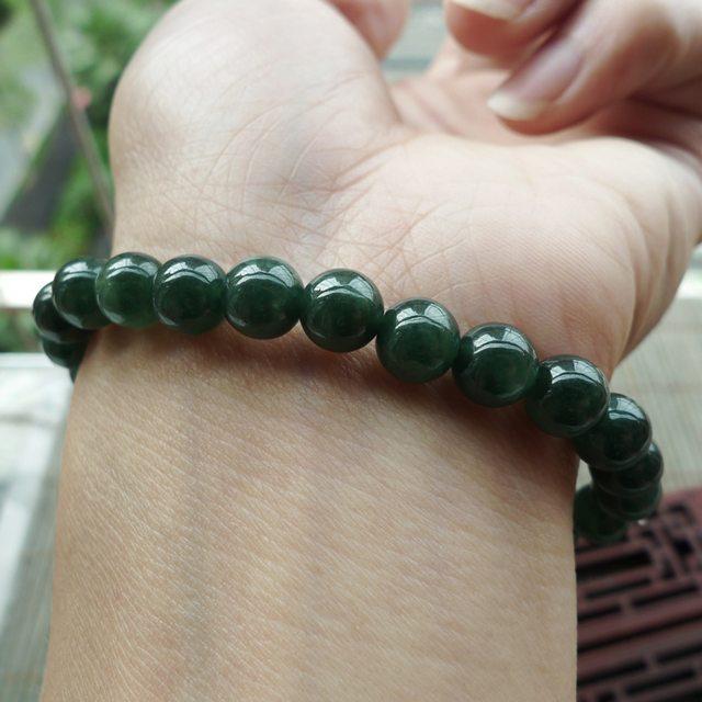 好种满绿翡翠手链 珠大7mm