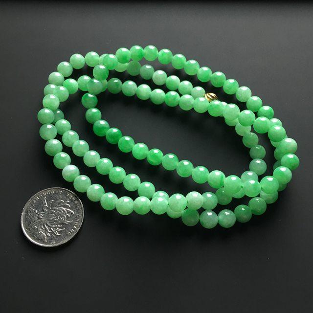 阳绿天然翡翠项链 直径7毫米图5