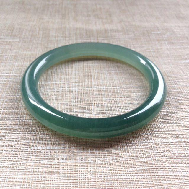 冰润蓝水绿圆条手镯 尺寸 55/7.3/8.1mm
