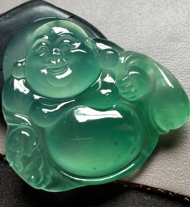 玻璃种晴绿布袋佛 翡翠吊坠 尺寸43*44.5*7.6
